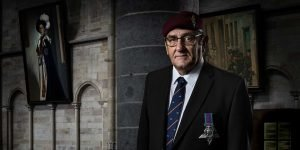 legacy portrait - ex-serviceman wearing his medal in a church