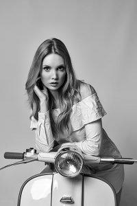 model portfolio - girl on a lambretta